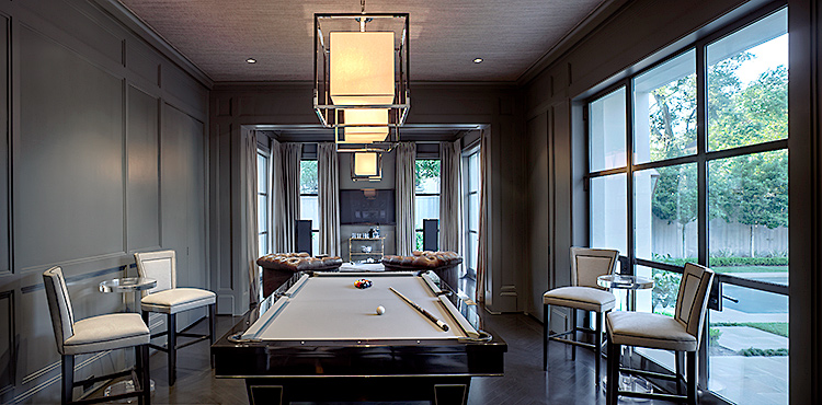 residential architectiral interior photograph of modern game room